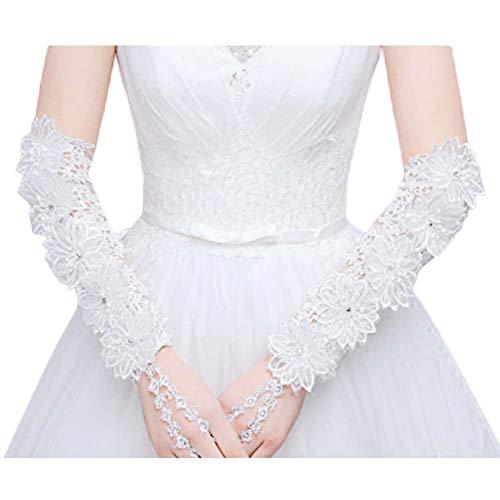 Gants de mariée mariage robe de soirée dentelle longs gants A08