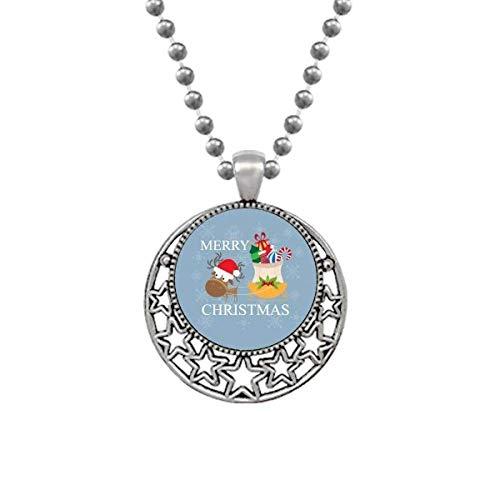 Weihnachts-Elch-Geschenk Fröhliches Weihnachtsfest Halsketten Anhänger Retro Moon Stars Schmuck
