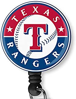 Texas Rangers Retractable ID Card Badge Holder with Alligator Clip Name Nurse Decorative Badge Reel Clip on Card Holders