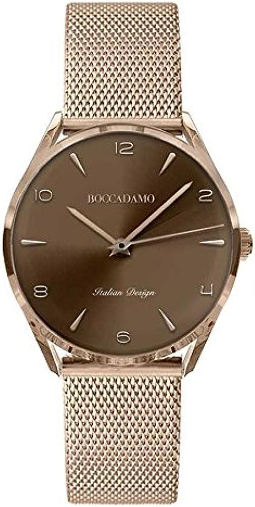 Boccadamo, orologio  per uomo, cinturino placcato oro rosa in maglia mesh Wa003