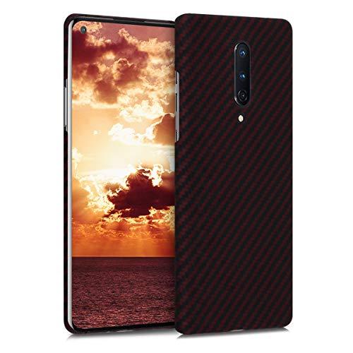 kalibri Schutzhülle kompatibel mit OnePlus 8 (2020) - Hülle Aramid - Handy Cover Hülle Handyhülle Rot matt Schwarz