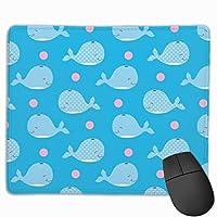 マウスパッド オフィス 最適 クジラ 青 背景 子供絵 まだら ゲーミング 光学式マウス対応 防水性 耐久性 滑り止め 多機能 標準サイズ25cm×30cm