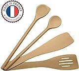 MIAMM ustensiles de cuisine en bois set, ensemble complet, spatules en hêtre, Made in EU, 1 grande cuillère à sauce de 30cm, 1 spatule mortaise 30cm, 1 spatule biseautée 30cm, 1 maryse a pâtisserie
