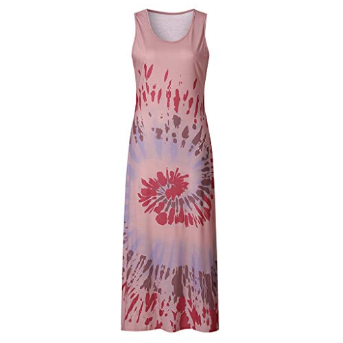 EUCoo - Vestido largo para mujer, estilo casual, estampado floral, para verano, con correa de espagueti, estilo boho