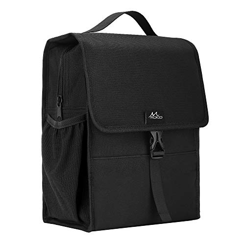 MoKo Insulated Lunch Bag, Reusable Cooler Tote Bag, Collapsible Multi-use Lunch Box, Thermal Lunch Sack with Zipper Closure for Travel Picnic School Office, Black