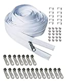 Zipper 10 Yards #3 Zipper Repair Kit White Zipper Roll for Sewing Nylon Coil with 20pcs Zipper Sliders Zipper Pull and 30pcs Zippers Stops for Upholstery Sewing