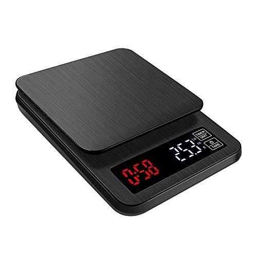 SODIAL BáScula de Cocina ElectróNica de 5 KG 0,1G con Temporizador BáSculas Inteligentes Digitales Punch de Mano BáScula de Café por Goteo BáScula para Hornear Impermeable