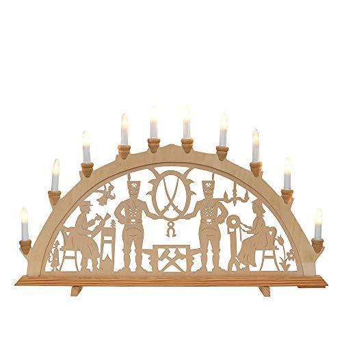 Dekohelden24 Wunderschöner Schwibbogen, 10 flammig, Motiv: Bergleute, ca. 71 x 4 x 40 cm