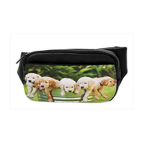 Lunarable Unisex Bumbag, Dog Lover Golden Retriever Puppies