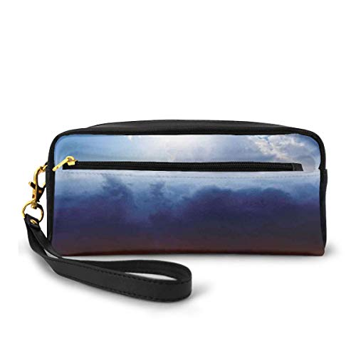 Pencil Case Pen Bag Pouch Stationary,Sun and Dark Stormy Sky with Thunder Heaven and Hell Good and Evil Art,Small Makeup Bag Coin Purse