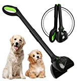 Chrider Non-Breakable Pet Pooper Scooper for Large and Small Dogs, Long Handle Portable Dog Pooper Scooper, Foldable Dog Poop Waste Pick Up Rake (Green)
