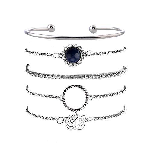 DYSCN 5 Pcs Bracelet Set Simple Lotus Piece Circle Bracelet Stackable Wrist Bangle for Women Girls(Silver)