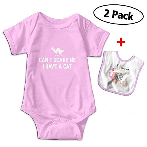 Love Taste Black Cat Halloween Baby Bodysuits Short Sleeve Onesies Give Baby Bib Pink