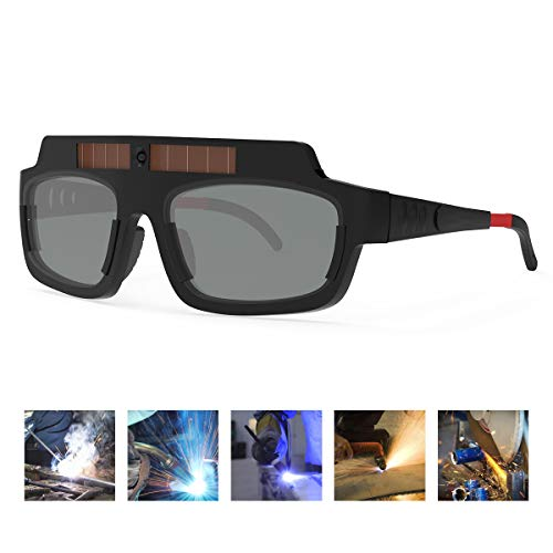 YESWELDER Solar Powered True Color Auto Darkening Welding Goggles, Welder Glasses for TIG MIG MMA Plasma LZ200F