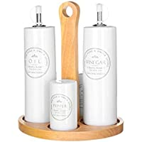 dcasa - Aceitera vinagrera junto salero y pimentero blanca de cerámica para cocina