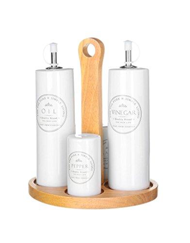 D'CASA - Aceitera vinagrera junto salero y pimentero blanca de cermica para cocina