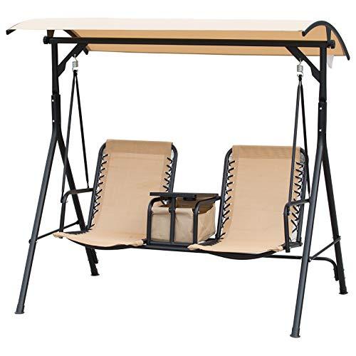 Outsunny Balancelle de Jardin 2 Places Table d'appoint pivotante + Rangement intégré Inclinaison Toit réglable Acier Noir Polyester Beige