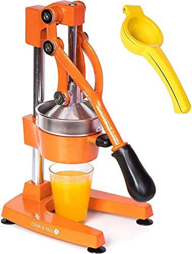 Crew & Axel Citrus Juicer - Manual Orange Juice Squeezer – Heavy Duty Cast Iron Commercial Grade Pomegranate Grapefruit Lemon Lime Juicer Maker + Lemon Squeezer Press W Anti Slip Suction Cup Base Orange