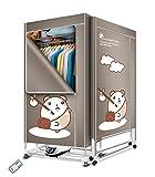 Kasydoff - Secador de ropa portátil 3 niveles, plegable, ahorro de energía, 1,7 m, temporizador digital automático con...