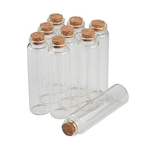 Suneast 20 Unidades de 20 ml Botellas de Cristal con tapón de Corcho para Manualidades, Manualidades, Bodas, Deseos, Joyas, Regalos, Vidrio - 22 * 80mm