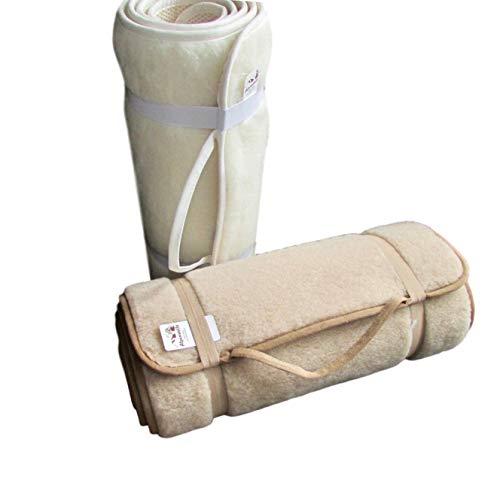 Alpenwolle Sportmatte rutschfest, Yogamatte,Gymnastikmatte, Fußmatte,Bettteppich 100% Wolle (beige, 75x180 cm)