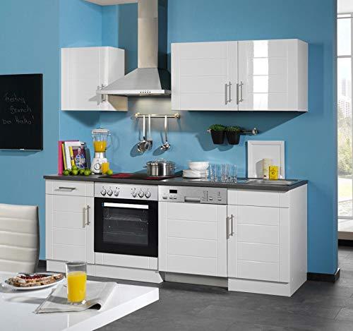 lifestyle4living Küche mit Elektrogeräten 220cm | Küchenzeile Küchenblock Einbauküche E-Geräte | Hochglanz Weiss