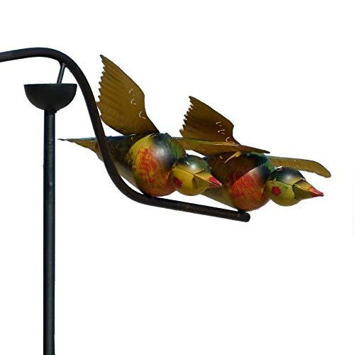 Pommerntraum ® | Windspiel - Gartenpendel - Gartenstecker - Gartendeko - Garten Kunst - verliebte Bunte Vögel - mit Glaskugel