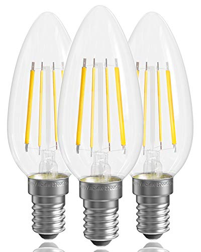 QNINE Warmweiss E14 LED Dimmbar, 4W(ersetzt 40W Glühbirne), Vintage Glühbirne Kerzenform, 2700K, 3 Stück