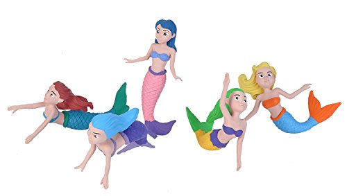 Wild Republic Mermaid Figurines Fivepiece Collection Polybag, Mermaid Toys, Mermaid Doll, Gifts for Girls, Bath Toys, Model:21510