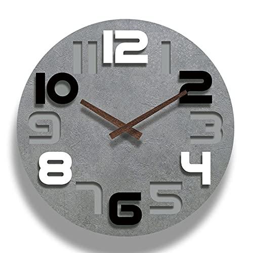 WZQZ Relojes De Pared para Habitaciones Sin Tictac, Numerales Árabes Silenciosos De 12 Pulgadas. Mostrar Reloj De Decoración Moderna, para La Escuela De Oficina Casa De La Sala De Estar