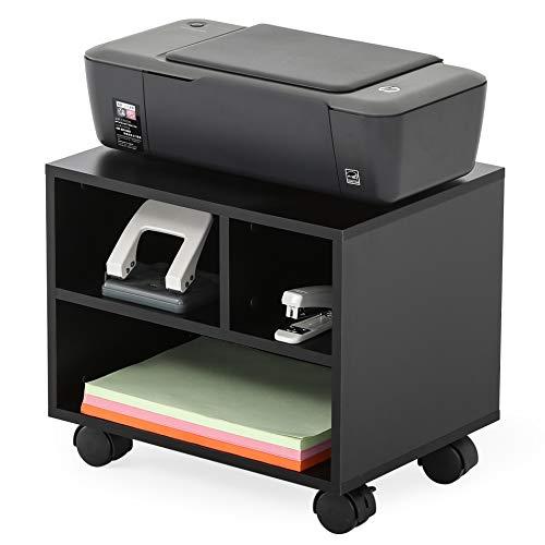 FITUEYES Druckerständer Druckerhalter mit Rädern Holz Schwarz 3 Fächern Wagen Organizer für Büro Zuhause 40x30x35cm PS304003WB