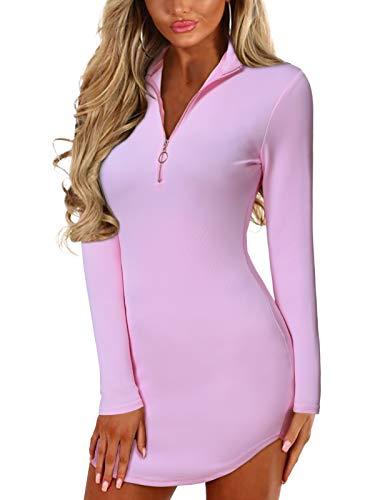 YOINS Sexy Damen Oberteile Kurz Sommerkleid V Ausschnitt Kleider Schwarz Damen Elegant Einfarbig Abendkleider Party Langarm-rosa XL