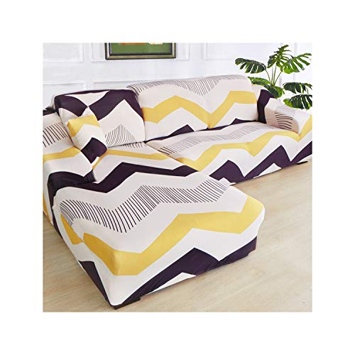 HGblossom L-Form (Kaufen Sie 2 Stück) Ecksofa-Bezug elastisch für das Wohnzimmer Bedruckter Bezug für Sofabezüge Stretch 1/2/3/4 Sitz Farbe 23 Dreisitz 190-230 cm