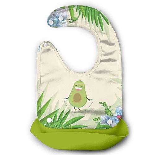 Kawaii Fitness Cuerda de aguacate Saltar Impermeable Baberos de alimentación de bebé baberos de silicona para bebés con bolsillo