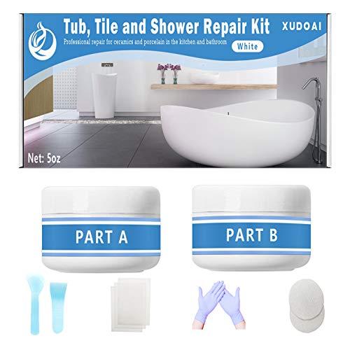 Reparaturset für Wannen, Fliesen und Duschen, 5oz White Bathtub Crack Refinishing Kit für Porzellan, Acryl, Glasfaser