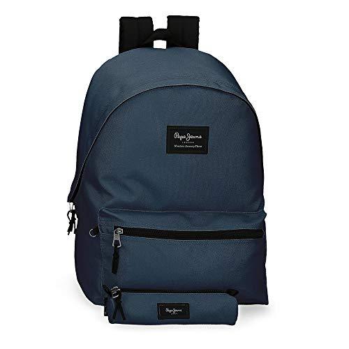 Pepe Jeans Aris Mochila para Portátil 15,6' + Estuche Escolar Azul 31x44x17,5 cms Poliéster 23.87L