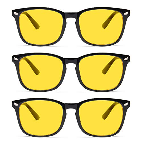 Night Driving Glasses, Gaoye Anti Glare Night Vision Glasses for Motorcycle/Car, Night Time Driving Glasses for Men Women (3-Pack Light Black, Yellow)