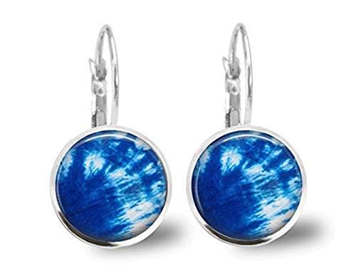 Pendientes de azulejos de cristal, joyas, joyería de atar, arras de hippy, joyería de hippy, pendientes de joyería de plata, pendientes de fondo azul.