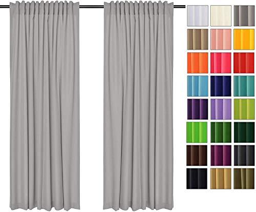 Rollmayer Vorhänge mit Tunnelband Kollektion Vivid (Silbergrau 31, 135x150 cm - BxH) Blickdicht Uni einfarbig Gardinen Schal für Schlafzimmer Kinderzimmer Wohnzimmer