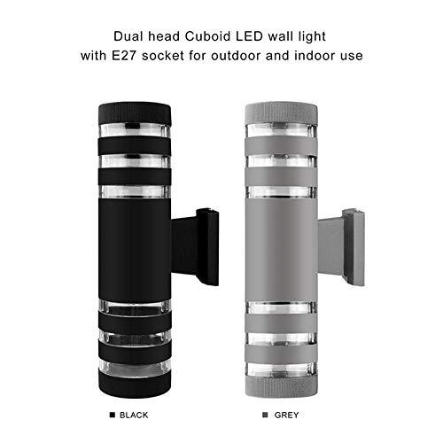 Moderne buitenverlichting waterdicht up down LED wandlamp buitenverlichting industriële decoratie voor tuin buiten buitenverlichting Dual Head Round_1pc zwart
