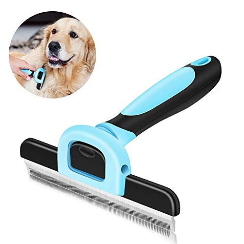 WENTS Pet Grooming Brush Deshedding Tool, Effectively Reduces Shedding, Non Slip Silicone Handle, Quick Release Comb, Safe Long or Short Pet Hair Removal, Gentle on Dogs, Cats (Blue)