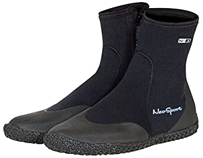 Neo Sport Premium Neoprene Men & Women Wetsuit Boots, Shoes with puncture resistant sole 3mm, 5mm & 7mm for warm, moderate or cold water for watersports: beach, boat, lake, mud, kayak and more! Sizes 4 - 16, Men's 11 / Women's 12