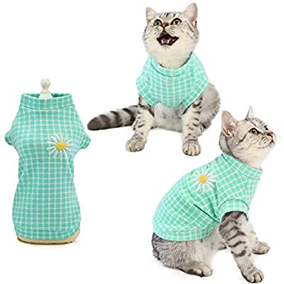 Luzpet Small Dog Cat Cotton Jumper Clothes Outfits Vintage Plaid with Daisy Clothing Costume Shirts for Cats Rabbits Puppies, (M,Green)