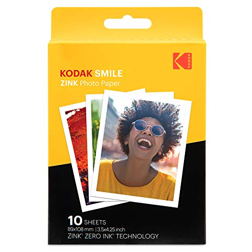"""Kodak Papel de impresión fotográfica Zink 3,5""""x4,25"""" (10 Hojas) Compatible con la cámara instantánea Kodak Smile Classic"""