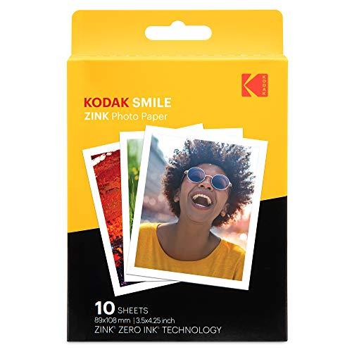 Kodak Papier Photo de qualité supérieure avec Impression Zink de 3, 5 x 4, 25 Pouces (10 Feuilles) Compatible avec l'appareil Photo Kodak Smile Classic