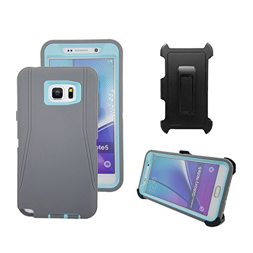 Galaxy Note 5 Case, Harsel Defender Heavy Duty Tough Shockproof Scratch Resistant Full Body Protective Military w' Belt Clip Built-in Screen Protector Case Cover for Galaxy Note 5 - Gray Light Blue