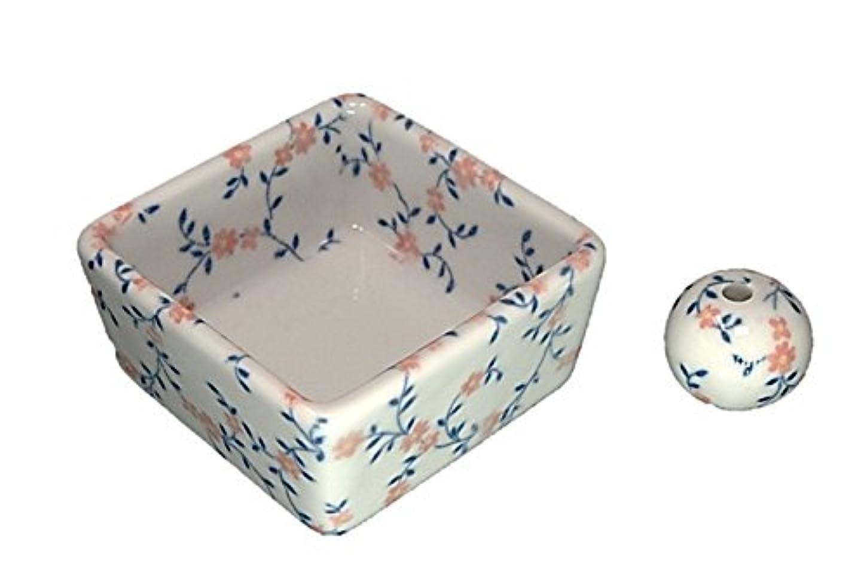はず心からお金和モダン カントリーフラワー お香立て 陶器 角鉢 製造直売品