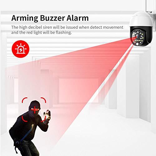 Überwachungskamera,1080P WiFi Sicherheits Infrarotkamera,drahtlose PTZ IP Dome Audio Kamera mit 4 fachem Zoom,für den Außen und Innenbereich-Camera_Add_64G_Card_White
