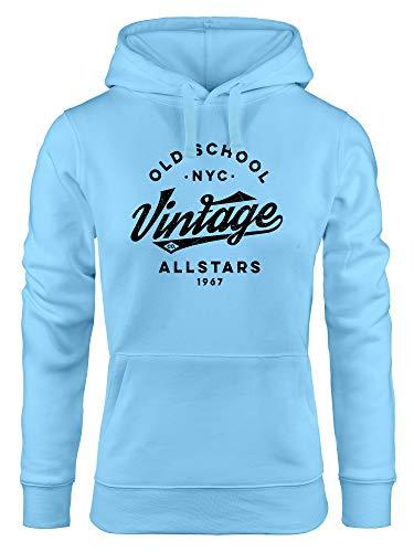 Neverless® Hoodie Damen College Style Schriftzug Oldschool Vintage Allstars Kapuzen-Pullover Fashion Streetstyle hellblau M