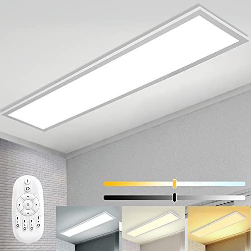 Plafoniera LED 120x30cm Dimmerabile Lampada da soffitto Pannello con Telecomando, Alta Luminosità Rettangolare Plafoniera, 40W 2700K - 6500K Bianco Caldo Naturale Freddo per Ufficio Officina Garage